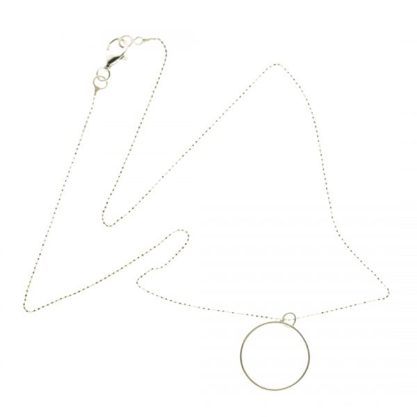 Collartz minimal Silver chain with a circle charm 2