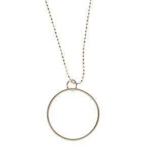Collartz Cadena de Plata Minimal con colgante en forma de Círculo 1