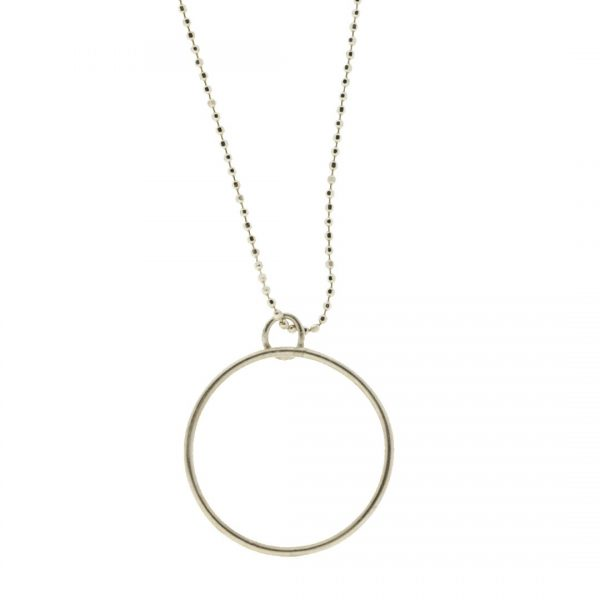 Collartz minimal Silver chain with a circle charm 1