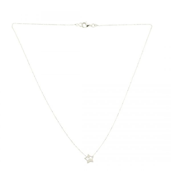 Collartz-minimal Silver Chain with a star pendant 2