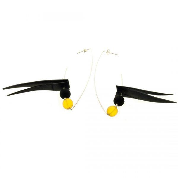 Collartz Air Tangara Orange Silver Earrings 1