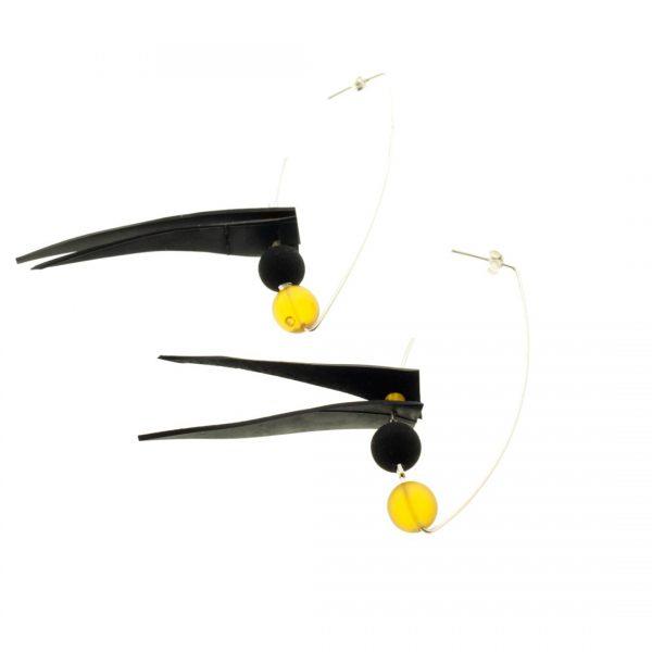 Collartz Air Tangara Orange Silver Earrings 2