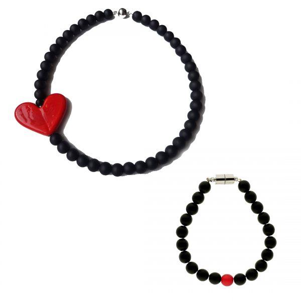 Lava Rossa Bubbles Set: Bracelet & Choker 3