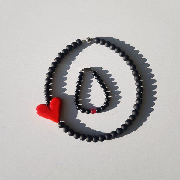 Lava Rossa Bubbles Set: Bracelet & Choker 2