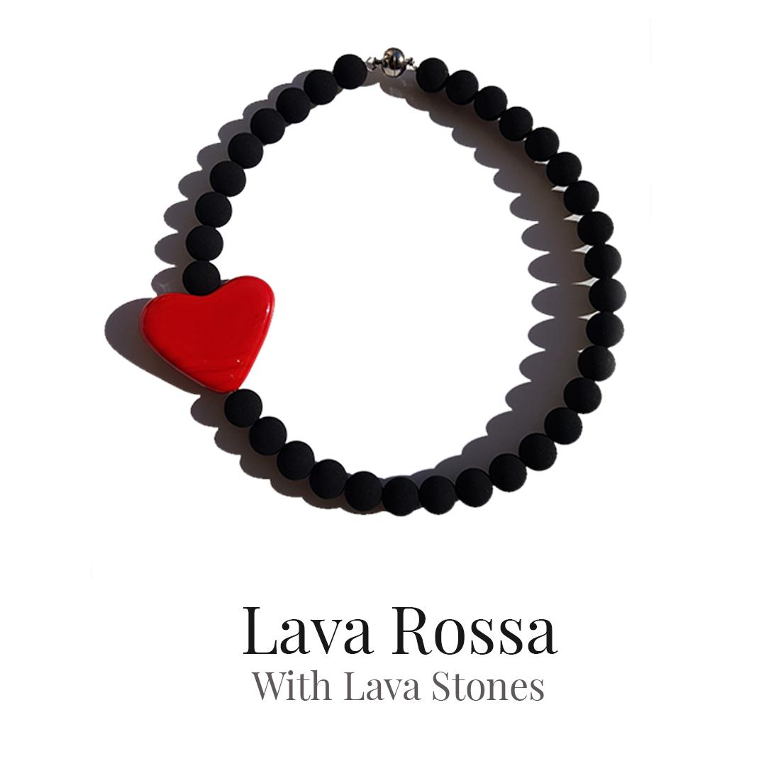 Collartz Lava Rossa Choker with Lava Stones