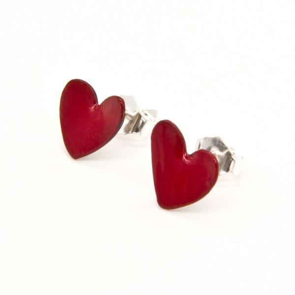 Micro Pendientes Corazón de Cobre Esmaltado Rojo y Plata 3